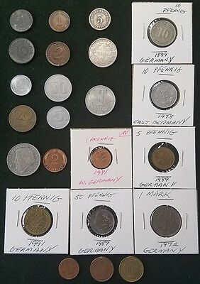 GERMANY GERMANIAN DDR LOT OF 23 COINS COLLECTION 1899 - 2004 3rd REICH RARE COIN