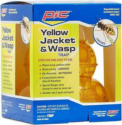NEW PIC WTRP Hornet Yellow Jacket & Wasp Trap Insect Hang No Chemicals Reusable