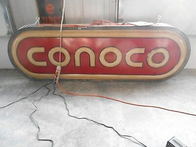Conoco gas and oil station lighted sign 2 sided hanging 1970's ?