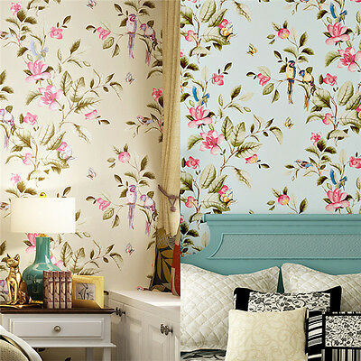 NEW Village Floral Bird Wallpaper Roll Living Room TV Wall Paper Home Decor 10M