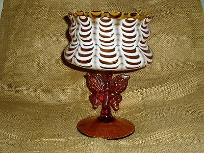DC: Nailsea Compote, Candy Dish, Butterfly Medallion, Victorian Glass