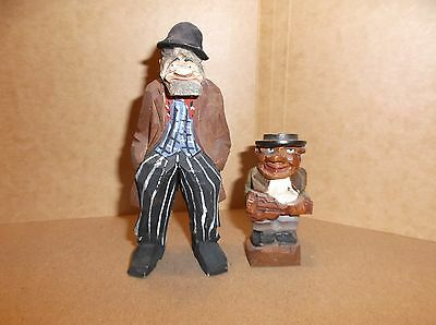 German carved wood figures old man and violin player hand painted Signed S.G.