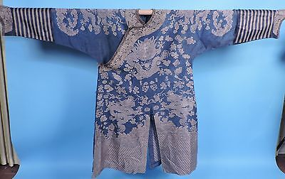 19Th C Chinese Summer Robe W 9 Dragons And Symbols W Hoof Cuffs