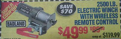 ***COUPON*** HARBOR FREIGHT 2500 LB Electric Winch by Badland