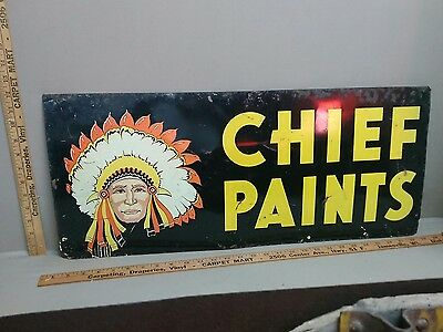 ORIGINAL 1940's CHIEF INDIAN PAINT 2-SIDED METAL SIGN MOTORCYCLE GAS OIL TEXAS
