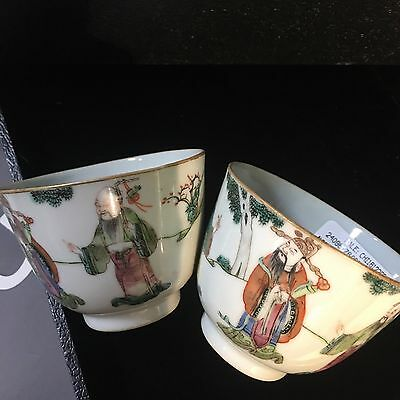 Chinese antique pair of famille rose enameled teacups