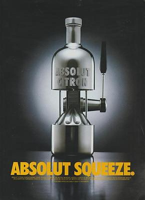 Absolut Citron Swedish Vodka Absolut Squeeze Citrus Vintage MagazineAd 1998 Rare