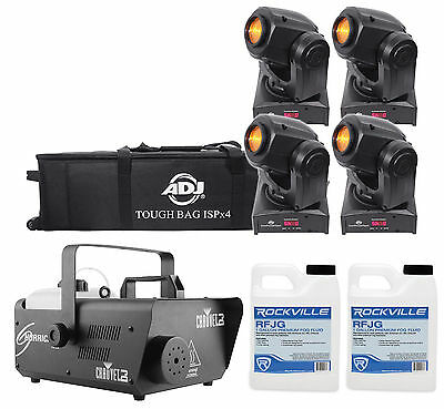 (4) American DJ ADJ Inno Pocket Spot LED DMX Lights+Bag+Fogger+(2) Gal. Fluid