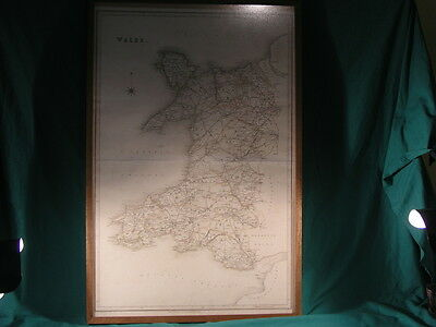 Antique Framed Map of Wales Published by T L Murray Adelphi 1830