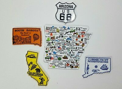 Vintage Lot of 5 Collectible State Magnets