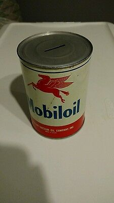 Mobil oil can metal one quart bank