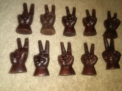 Vintage HAND CARVED  PEACE SIGN WOOD from estate BROWN