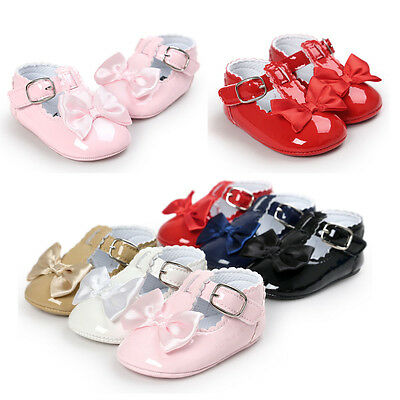 Baby Newborn Girl Princess Grib Shoes Leather Soft Sole Sneaker Christening Pram