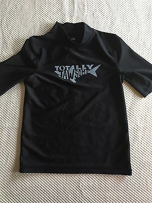 Gently Used Boys Cherokee Black Swim Shirt w/ Shark- S (6-7)