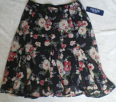 Women's Skirt Size S ~ CHAPS Polyester Colorful Floral Fully Lined ~ NWT $69.00