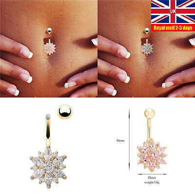 Flower Rhinestone Crystal Barbells Navel Belly Bar Button Ring Body Piercing UK