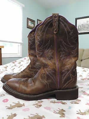 JUSTIN GYPSY WESTERN BOOTS LADIES SQUARE TOE PURPLE STITCHING L2918 Size 9.5