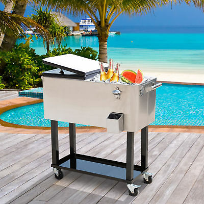 Outsunny 80 Quart Rolling Cooler Cart Patio Ice Beer Beverage Cooling Portable
