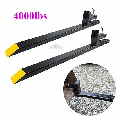 "60"" Clamp on Pallet Forks 4000lbs Capacity Loader Bucket Skidsteer Tractor Chain"