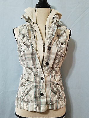 MAURICES Women's Small beige black & blue plaid full zip & button hooded vest