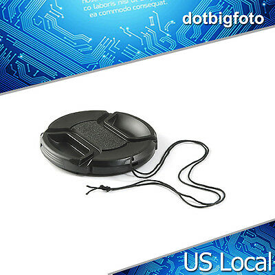 49mm Front Lens Cap Hood Cover Snap-on with cord for Nikon Canon Pentax Sony