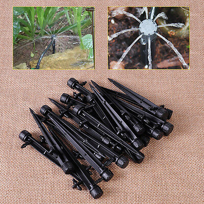 5pcs Black Micro Garden Irrigation Adjustable Dripper/Sprinkler on Stake 360°