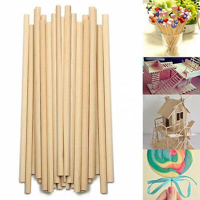 100pcs 150mm Round Wooden Lollipop Lolly Sticks Cake Dowel For DIY Food Craft