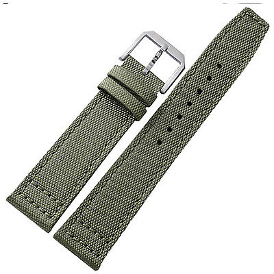 New 20mm 21mm 22mm Canvas Leather Watch Strap Band Steel Buckle Pilot Style