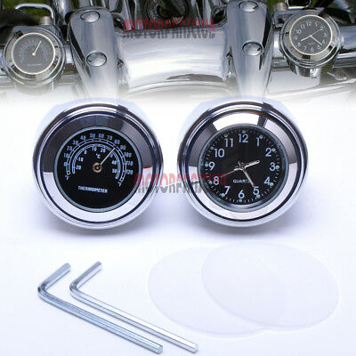 "7/8"" 1"" Motorcycle Handlebar Dial Clock  & Thermometer Temp For Harley Davidson"