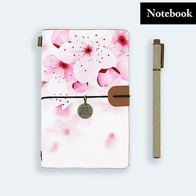 Genuine Leather Journal Travel Diary Travelers Notebook Size Pink Flower