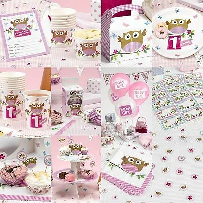 Little Owl Pink Baby Shower Birthday Party Tableware Girls Decorations Supplies