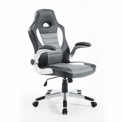 HOMCOM Racing Office Chair Swivel Adjustable Computer Gaming Seat PU Grey Black