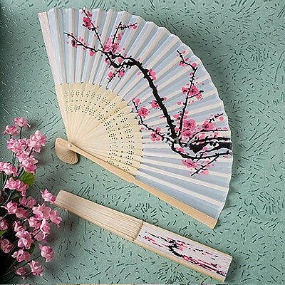 Fancy Chinese Silk Bamboo Hand Held Folding Cherry Blossom Wedding Party Fan New