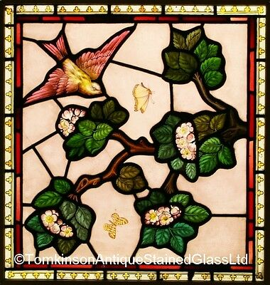 Antique Victorian LEADED Painted STAINED GLASS Window  - We Ship Worldwide