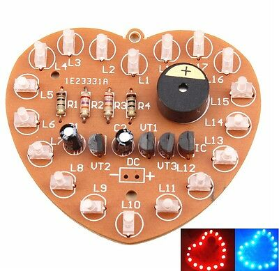 Heart-Shaped LED Music Flashing Kits Red Green Dual-Color Birthday Gift DIY AU