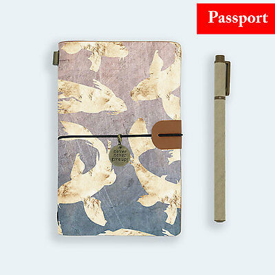 Genuine Leather Journal Travel Diary Travelers Passport Size Golden Fish