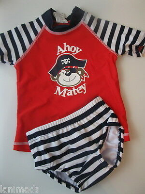 BNWT- Ahoy Monkey Set Swim Nappy Baby Boys Bathers Size Newborn 000 00  UPF 50+