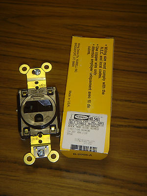 Hubbell 5461 Box/10 New Old StoCk, HBL5461 Brown 2 pole 3 wire Side/Back Wired