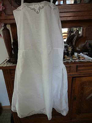 CHEMISE / ROBE femme ancienne BRODERIE SUR VOILE / BLANCHE / JUPONNEE / DENTELLE