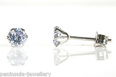 9ct White Gold Lilac CZ Stud earrings Made in UK Gift Boxed