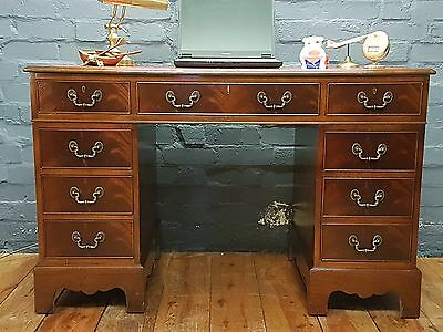 Mahogany Reproduction Antique Pedestal Writing Desk Red Leather Top With Key