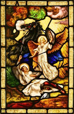 Antique Hand LEADED Painted STAINED GLASS Panel - St Paul - Can Ship Worldwide