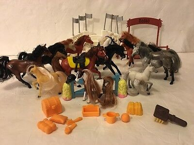 Lot 15  Grand Champion (11) 4 other Plastic Toy HORSES W/ Saddles & Accessories