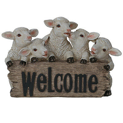 Five Cheeky Sheep Welcome Statue 34cm   Garden Ornament Sculpture Country