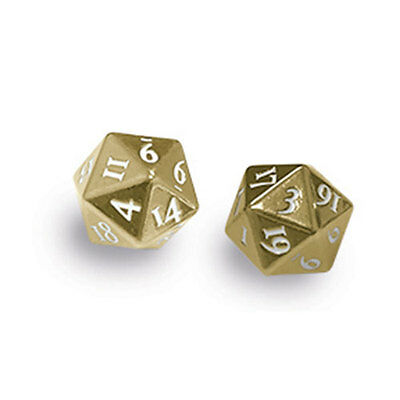 ULTRA PRO - Heavy Metal D20 2-Dice Set - Gold with White Numbers NEW