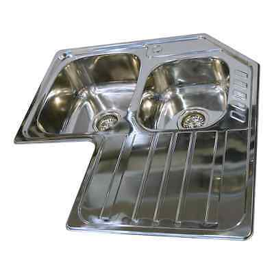 Stainless Steel Double Bowl & Single Drainer Inset Corner Kitchen Sink