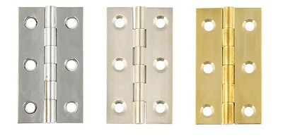 51 x 29 mm Polished Brass or Polished Chrome 2 Pack Brass butt hinge