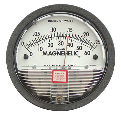 """Dwyer 2000-00D Magnehelic Differential Pressure Gauge (0-.25""""w.c. & 0-62 Pa)"""