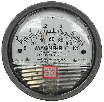 """Dwyer 2000-0D Magnehelic Differential Pressure Gauge (0-.5""""w.c. & 0-125 Pa)"""