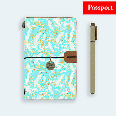 Genuine Leather Journal Travel Diary Travelers Passport Size Peacock Feather